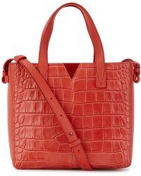 Vince - Red Crocodile-effect Leather Shoulder Bag - Lyst