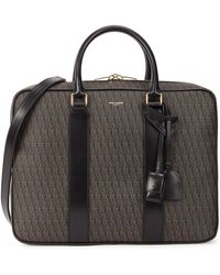 Saint Laurent - Monogrammed Coated Canvas Briefcase - Lyst