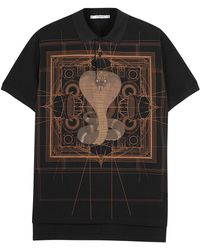 Givenchy - Cobra-print Piqué Cotton Polo Shirt - Lyst