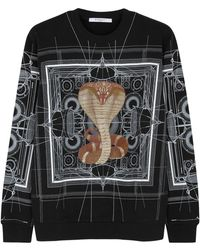 Givenchy - Black Cobra-print Cotton Sweatshirt - Lyst