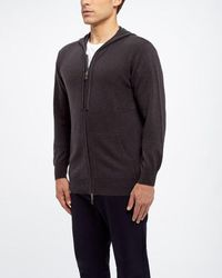 N.Peal Cashmere Hooded Zipped Top - Grey