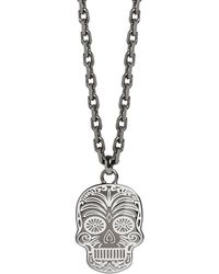 Simon Carter - Silver Tone Sugar Skull Necklace - Lyst