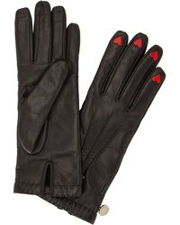 Boutique Moschino - Black Heart-insert Leather Gloves - Lyst