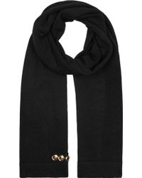 Boutique Moschino | Black Button-embellished Wool Blend Scarf | Lyst