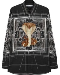 Givenchy - Black Cobra-print Cotton Shirt - Lyst