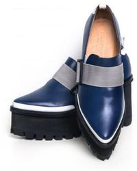 Jamie Wei Huang | Georria Navy And Black Leather Platform Loafers | Lyst