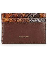 Dries Van Noten - Brown Leather Card Holder - Lyst
