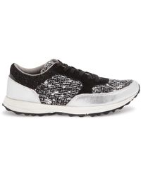 Sam Edelman - Des Silver Tweed And Leather Trainers - Lyst
