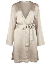 Luna di Seta - Basic Seduction Champagne Silk Kimono - Size M - Lyst