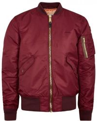 Bomber S College Schott Size In Nyc Red Burgundy American Jacket 1xfHxIwgq