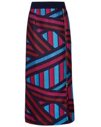 Teatum Jones - Striped Satin Jacquard Skirt - Size 10 - Lyst