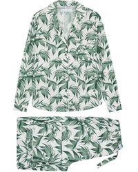 Desmond & Dempsey Byron White Printed Cotton Pyjama Set - Green