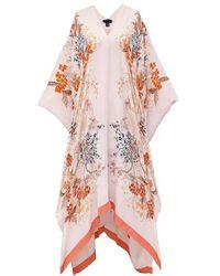 Meng Pink Pagoda Silk Georgette Kaftan