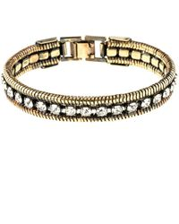 Halo Crystal And Rope Chain Cuff In Dark Antique Gold Color - Metallic
