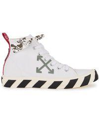 Off-White c/o Virgil Abloh Vulcanized White Canvas Hi-top Sneakers