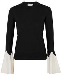 Alexander McQueen Monochrome Wool Sweater - Black
