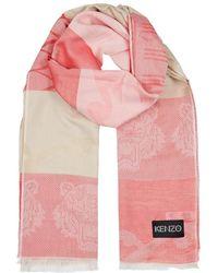 KENZO - Logo-jacquard Silk-blend Scarf - Lyst