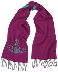 Vivienne Westwood Pink And Blue Orb-intarsia Wool Scarf - Red