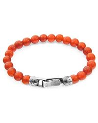 Anchor & Crew Red Carnelian Outrigger Silver And Stone Bracelet