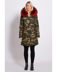 Popski London 3-4 Camouflage Parka With Burgundy Fur Collar And Lining - Multicolour