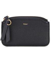 Chloé - Easy Black Grained Leather Card Holder - Lyst
