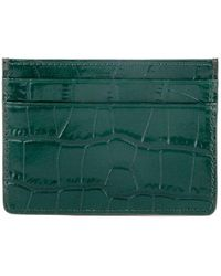 Esin Akan Grace Croc-embossed Leather Card Case Green