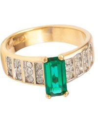 Susan Caplan Faux Emerald Band Ring - Green