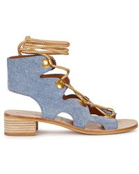 See By Chloé Edna Denim-effect Suede Sandals - Blue