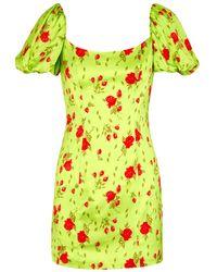 De La Vali Green Koko Floral Mini Dress