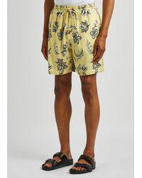Nanushka Doxxi Yellow Floral-print Satin Shorts
