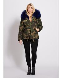 Popski London - Camouflage Parka With Navy Fur Collar And Faux Lining - Lyst