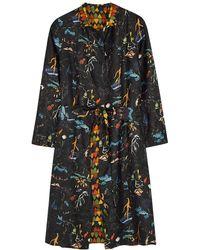 La Prestic Ouiston Fly Printed Reversible Silk Coat - Black