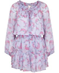 LoveShackFancy Popover Floral-print Silk-chiffon Mini Dress - Purple