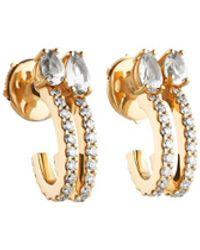 Atelier Swarovski Arc-en-ciel Double Hoop Earrings Swarovski Genuine Topaz 18k Gold - Metallic