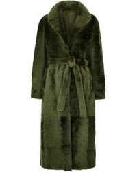 Yves Salomon - Army Green Reversible Shearling Coat - Lyst