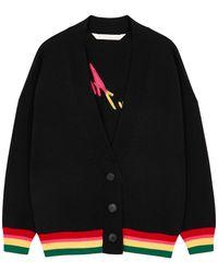 Palm Angels Miami Black Logo-intarsia Wool Cardigan