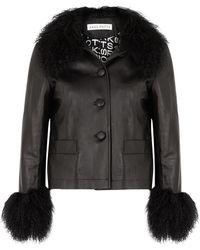 Saks Potts Dorthe Black Shearling-trimmed Leather Jacket