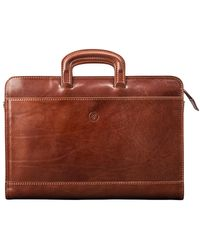 Maxwell Scott Bags Italian Crafted Tan Leather Business Folder - Brown