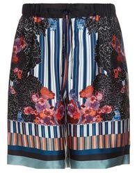 Meng - Men S Black & Pink Printed Long Silk Satin Shorts - Lyst