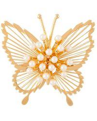 Susan Caplan 1970s Vintage Monet Faux Pearl Butterfly Faux Pearl Brooch - Metallic