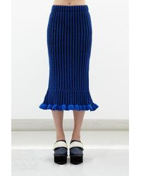 Jamie Wei Huang Lily Cashmere Ruffle Skirt - Blue