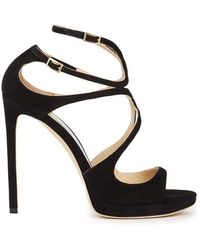 Jimmy Choo - Lance Black Suede Sandals - Lyst