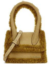 Jacquemus Le Chiquito Moyen Shearling-trimmed Top Handle Bag - Multicolour