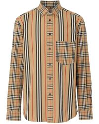 Burberry Checked Striped Cotton-poplin Shirt - Natural