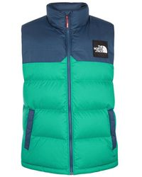 The North Face - Hd Nupste Teal Quilted Shell Gilet - Lyst