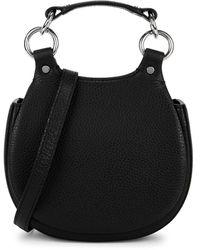 BEHNO Tilda Mini Black Leather Saddle Bag