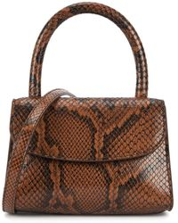 BY FAR Mini Snake-effect Leather Top Handle Bag - Brown