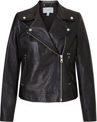 Jigsaw Clean Leather Biker Jacket - Black