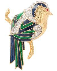 Susan Caplan 1980s Vintage Dorlan Swarovski Crystal Bird Brooch - Multicolour