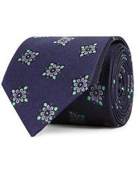 Eton of Sweden - Navy Floral-jacquard Silk Tie - Lyst